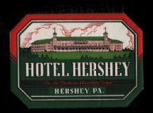 Collectable Hotel label luggage labels USA chocolate Hershey #19